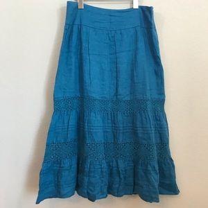 J. Jill A-Line Maxi Skirt Sz 8P Linen Boho Ruffle